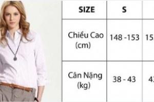 Hướng dẫn chọn size theo chiều cao cân nặng